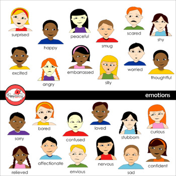 Emotions and Feelings Clipart and Flashcards by Poppydreamz