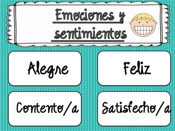 Emotions and Feelings Word Wall in Spanish / Pared de palabras