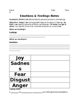 Emotions and Feelings notes
