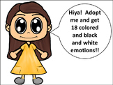Emotions and feelings Clip Art Kids: Caucasian Girl in Gold Dress