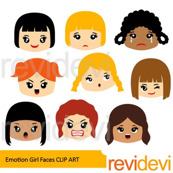 Emotions and feelings clip art - Girl faces