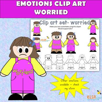 Emotions clip art -WORRIED