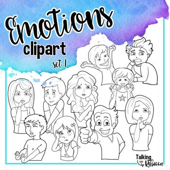 Emotions clipart set 1: face and body