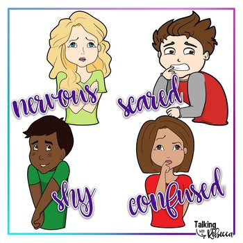 Emotions in color clipart set 1: Face and Body
