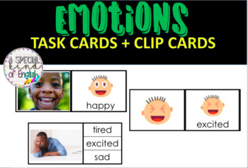Emotions task cards and clip cards