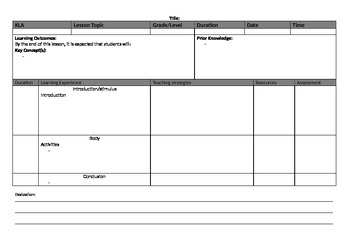Blank Lesson Plan Template Teaching Resources Teachers Pay Teachers - Lesson plan template blank