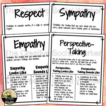 Empathy, Respect, Perspective-Taking, & Sympathy Poster Set