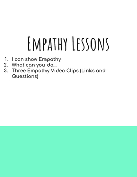 Empathy lesson: Video Links and Worksheet