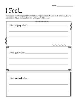 Empathy Worksheet: I Feel...