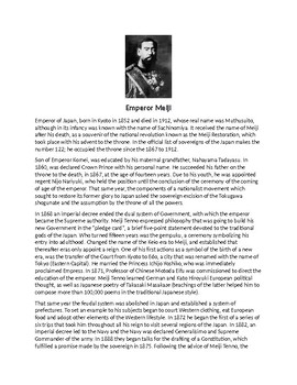 Emperor Meiji Biography Article and Assignment Worksheet