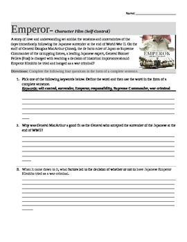 Emperor (Movie Guide) - WWII Film with Classroom Questions