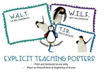 Emperor Penguin Explicit Teaching (WALT,WILF, TIB) posters