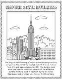 Empire State Building Informational Text Coloring Page Craft or Poster
