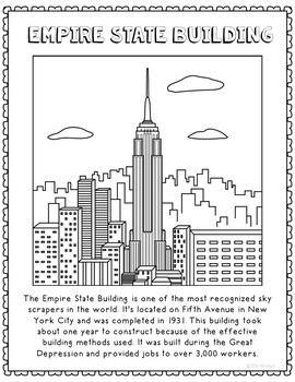 Empire State Building Informational Text Coloring Page Act