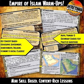 Empire of Islam Investigation Warm-Ups Skill Based, Content Rich Mini Lessons