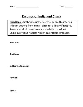 Empires of India & China Homework Definitions