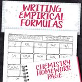 Empirical Formula from Chemical Formula Chemistry Homework Worksheet
