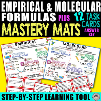 Empirical & Molecular Formulas MASTERY MATS & 12 Task Cards ~Step by Step~