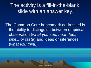 Empirical Observation v Inference; Fill-in-the-Blank Learning Activity