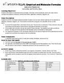Empirical and Molecular Formula Game Puzzle with Worksheet