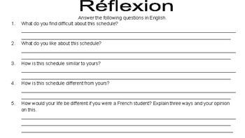 Emploi du temps/ French School Schedule Packet