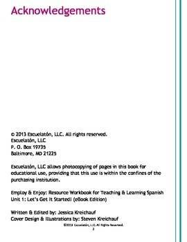 Employ & Enjoy: Resource Workbook for Teaching & Learning Spanish - Unit 2