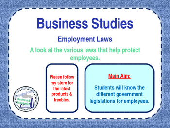 Employment Laws / Regulation - PPT & Worksheet - Business Studies