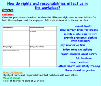 Employment: Rights and Responsibilities
