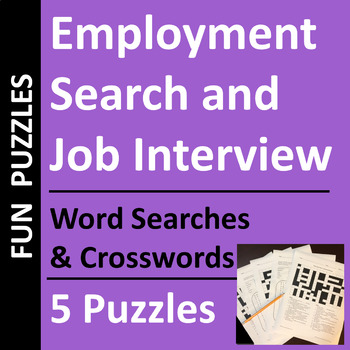 employment search amp job interview word search and
