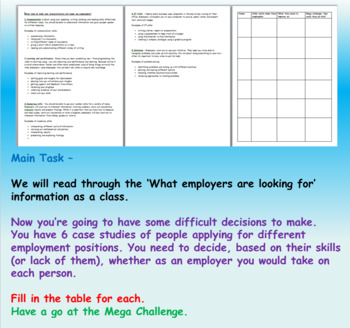 Employment - Skills, Application and Preparation (1hr PP, worksheets, clips)