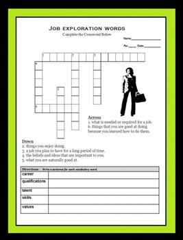 Career Readiness Worksheet - Employment Vocabulary - Career Exploration