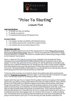 "Empower Hour - 1. ""Prior To Starting"" Lesson Plan and Resources"