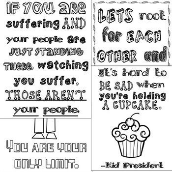 Empowering Quote Coloring Pages: CBT Inspired Pep Talk! (Back to School)