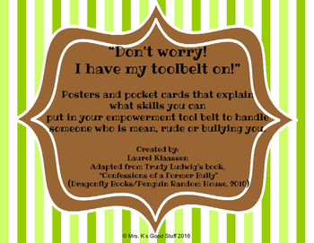 Empowerment Tool Belt Posters, Pocket Cards and Lesson Ideas
