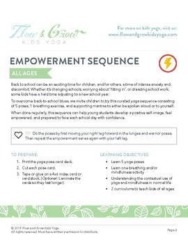 Empowerment Yoga Lesson Plan, Pose Card Deck and Journal
