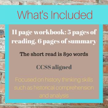 Empress Cixi Short Read with Summary Workbook