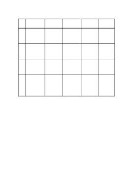 Empty Bingo Grid