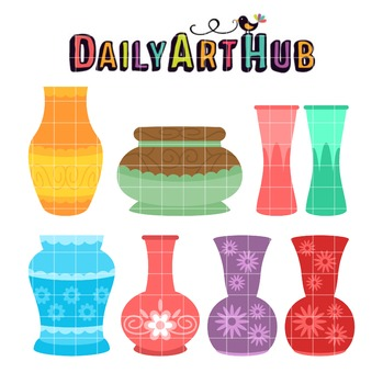 Empty Flower Vases Clip Art - Great for Art Class Projects!