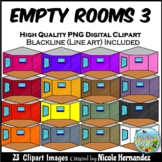 Empty Rooms 3 (Hexagon Shape) Clip Art for Personal and Co