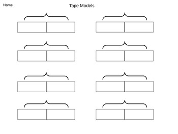 Empty tape/bar models for addition and subtraction
