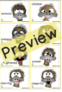 Emu Emotions Bingo and Memory Intermediate