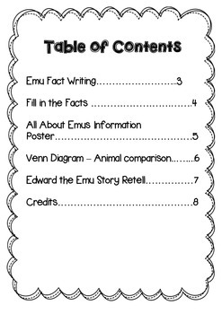 Emus Mini Writing Unit