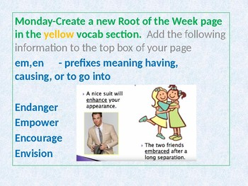 En Em Prefix ppt with Wednesday Idioms