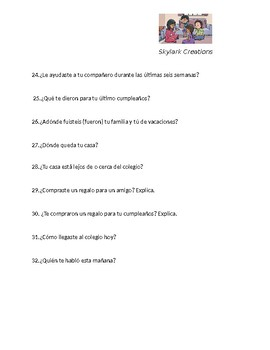 En Espanol 1 Unidad 4 etapa 1 2nd level  Oral Exam or Practice   77 questions