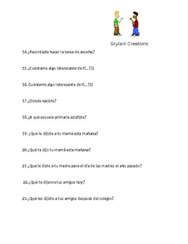Spanish 1   Oral Exam or Practice   77 questions
