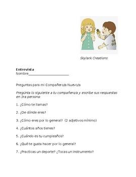 En Espanol 1 Beginning 2nd semester  ENTREVISTA