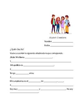 En Espanol 1  Unit 1 Etapa 1  Fill-in Guided Writing
