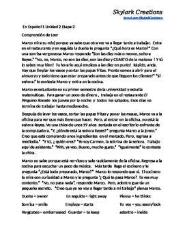 En Espanol 1  Reading Bundle Unidad 2 etapa 2  through Unidad 3 etapa 3