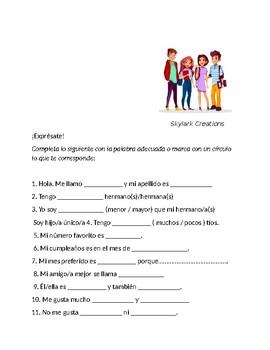 En Espanol 1 Unidad 1 etapa 3 Guided paragraph about family  & self