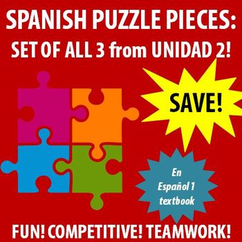 En Espanol 1 - Unidad 2 ALL Etapas - vocabulary puzzle pieces!